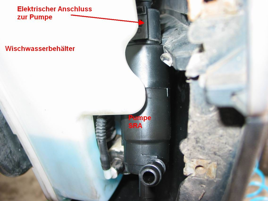 reparaturanleitung f r den austausch der pumpe der scheinwerferwaschanlage ohne ausbau des. Black Bedroom Furniture Sets. Home Design Ideas